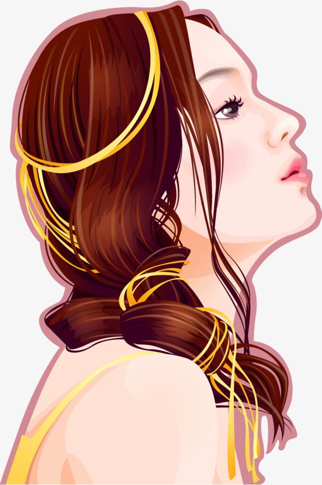 手绘美女仰头望着侧面头像