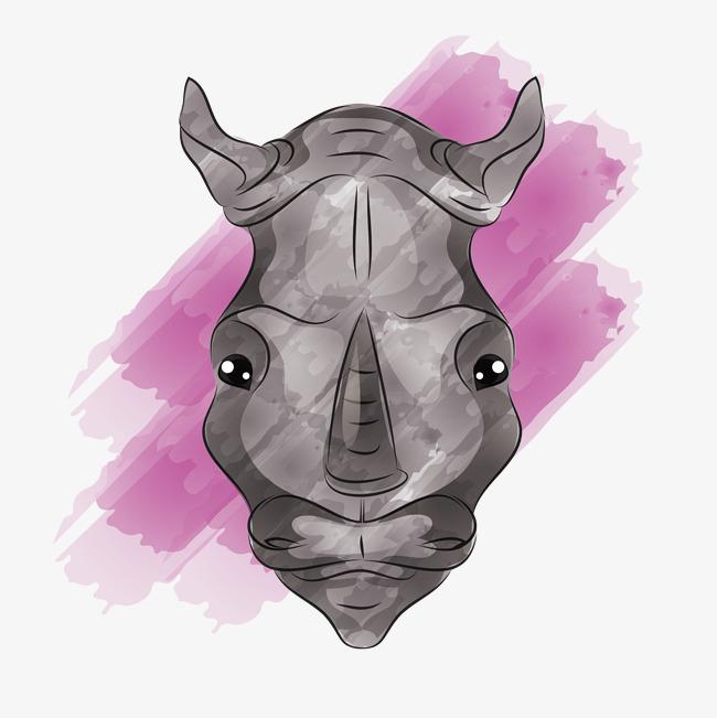 手绘的犀牛头
