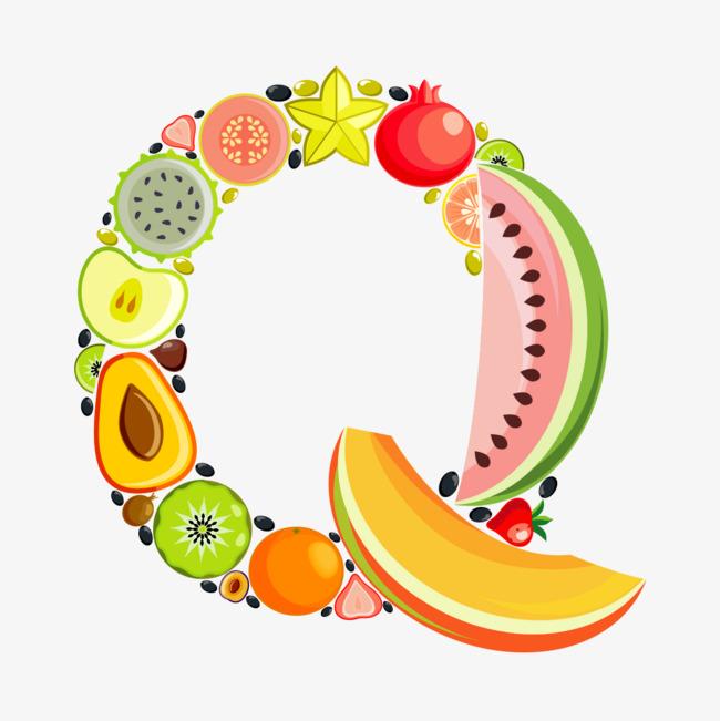 手绘水果字母q