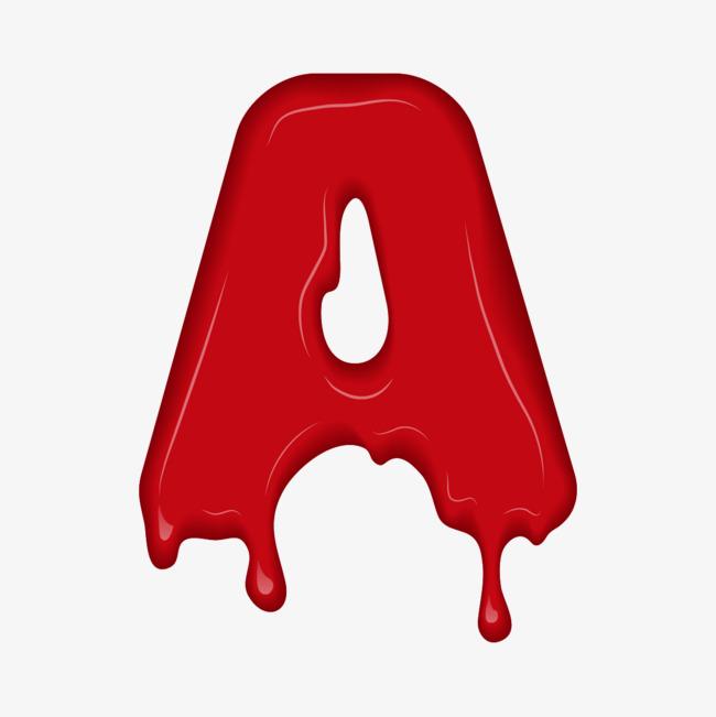 红色液体英语字母a图片