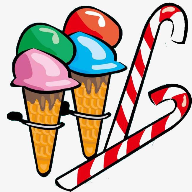可爱彩绘风格甜筒糖果简笔画食物