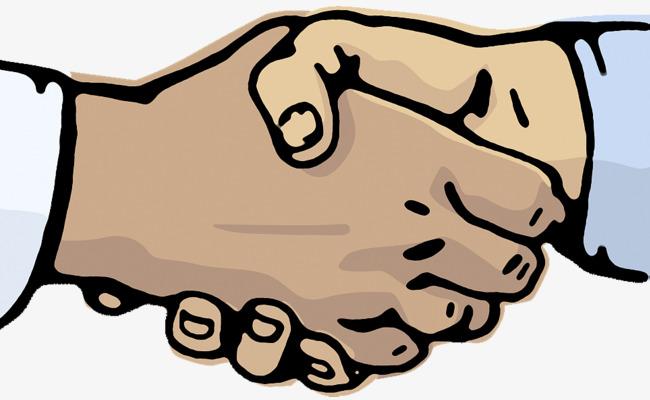 手绘矢量两人握手图片