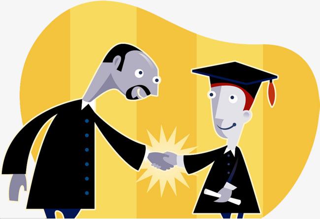 装饰插图两人握手祝贺毕业图片