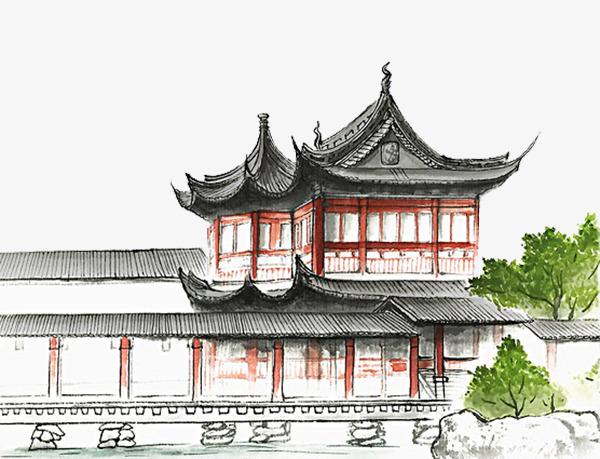 手绘古典建筑园林青瓦白墙