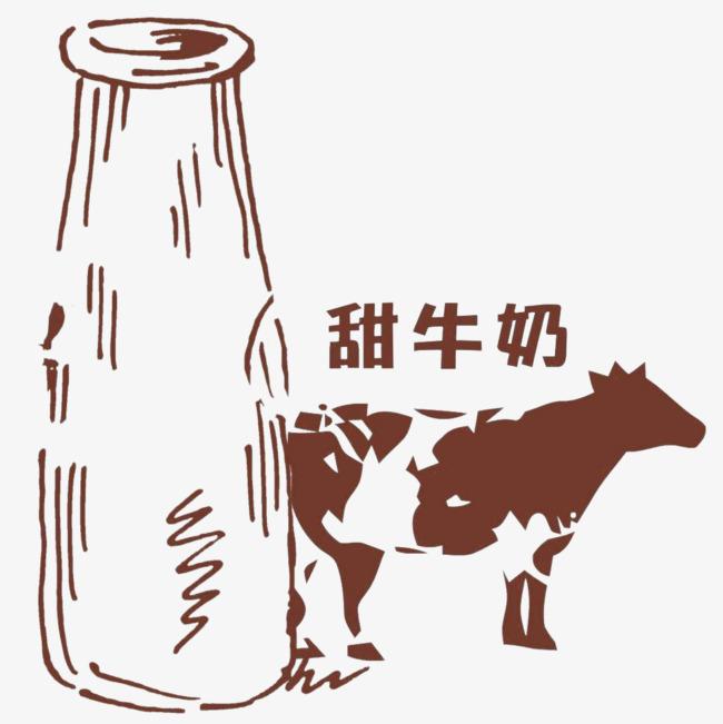 卡通手绘牛奶瓶和奶牛