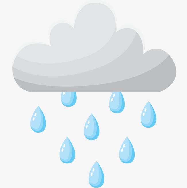 手绘卡通云朵下雨