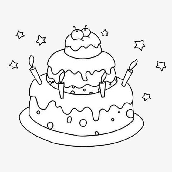 多层蛋糕简笔画食物