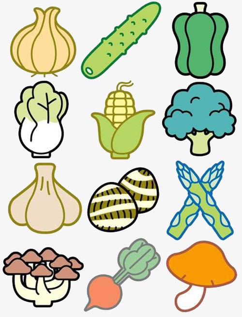 超全彩色简笔画蔬菜食物图案