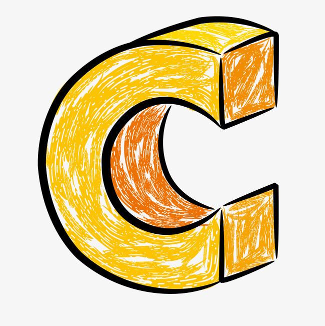 立体手绘字母c