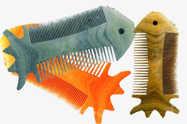 实物创意鱼形梳子