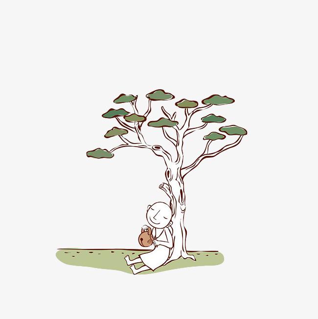 靠着树干敲木鱼的小和尚