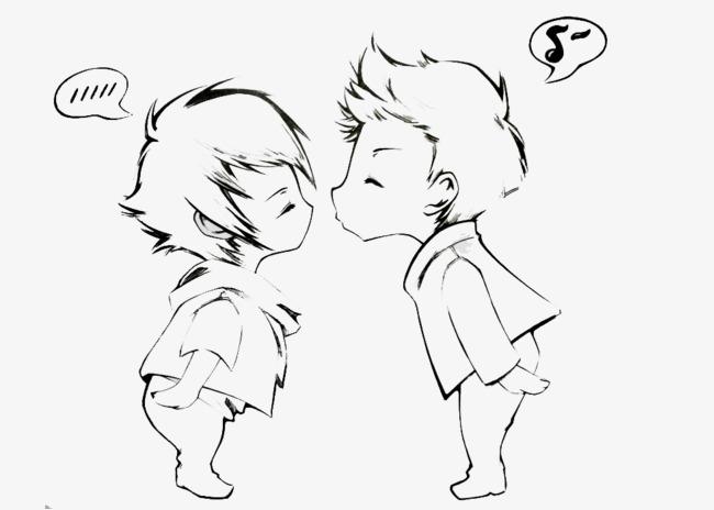 q版情侣亲吻简笔画