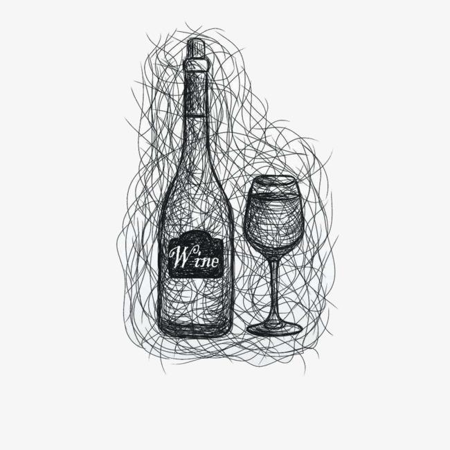 葡萄酒红酒酒杯素描图案