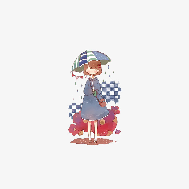 手绘下雨天小女孩