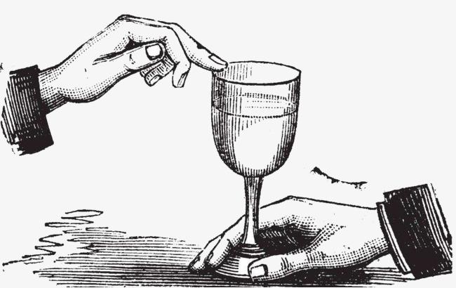 手拿红酒高脚杯素描图案