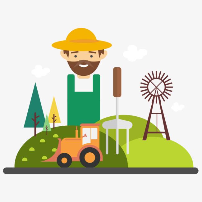 农夫的工具_手绘农夫与工具插画