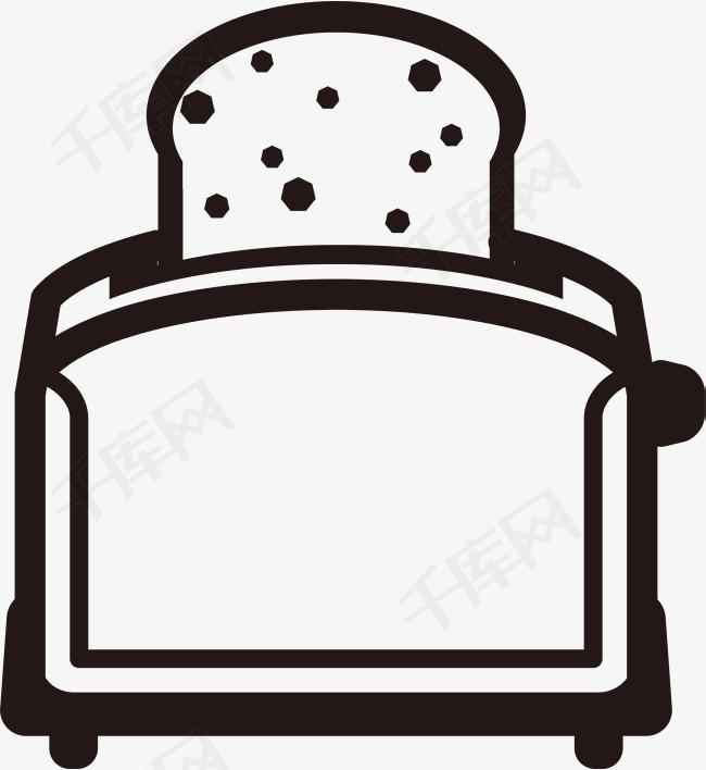 手绘烤面包机矢量手绘面包面包简笔画烤面包机早餐食物面包机