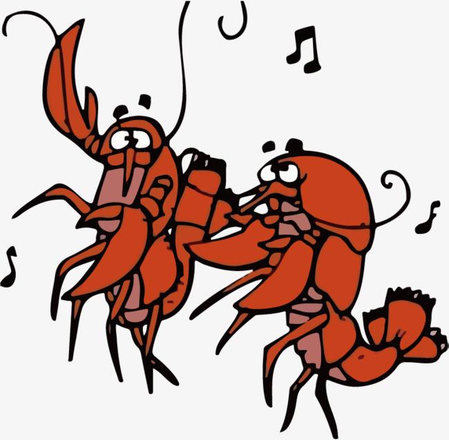 跳舞的卡通小龙虾矢量png