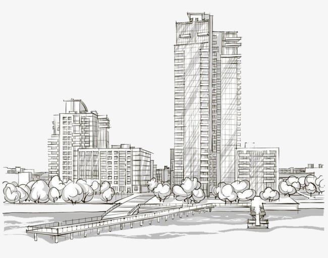 城市高楼简笔画图片