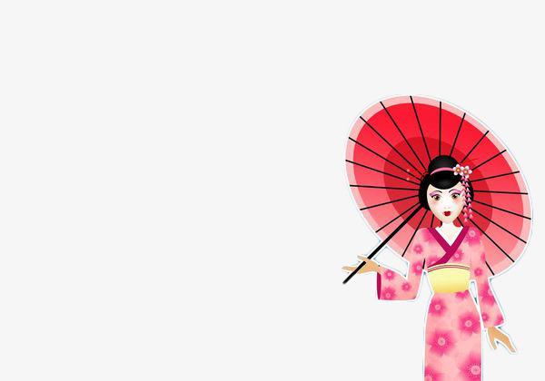 彩色手绘打伞和服女性png素材下载_高清图片png格式