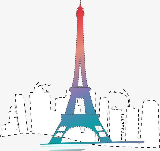 手绘简约巴黎铁塔