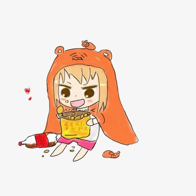 手绘吃货女吃薯片