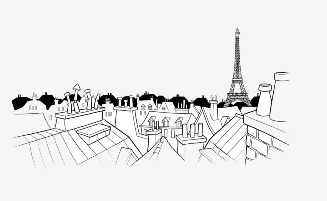 手绘城市楼房顶部简笔画矢量图