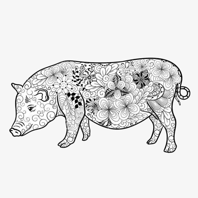 花纹猪简笔画 动物剪影 手绘动物 简洁 动物简笔画 手绘 猪简笔画png