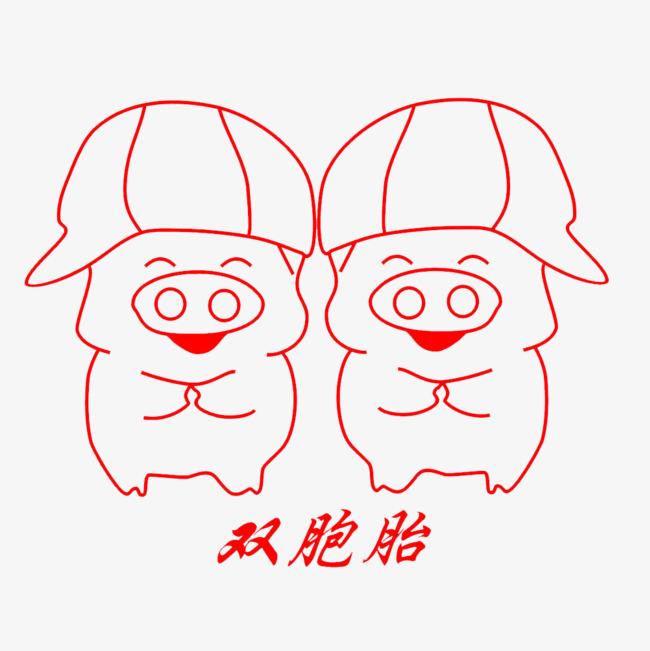 双胞胎猪简笔画 动物剪影手绘动物 简洁 动物简笔画 手绘 猪简笔画pn