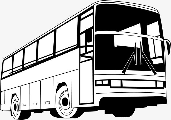手绘公交车矢量图