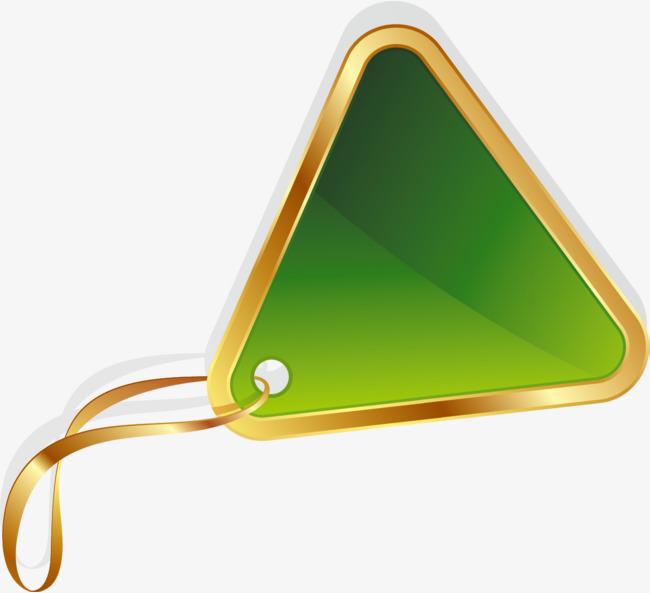 手绘绿色三角形挂牌_png素材免费下载_ 1263*1150像素
