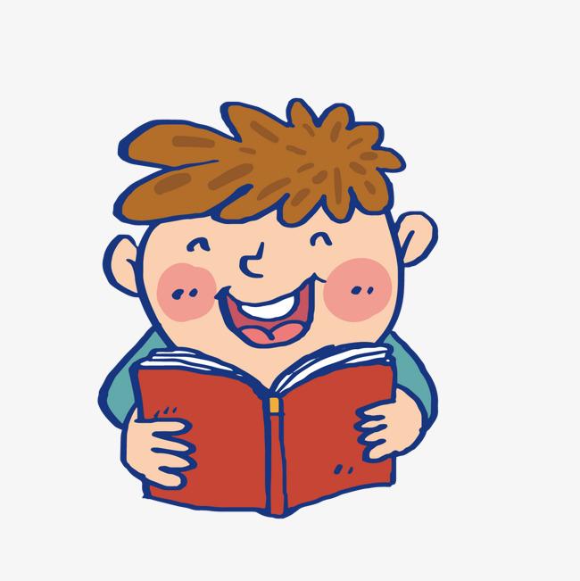 手绘看书的男孩