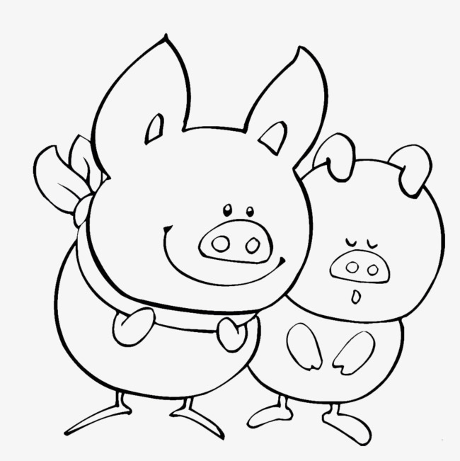 2只猪简笔画素材图片免费下载 高清png 千库网 图片编号9086848