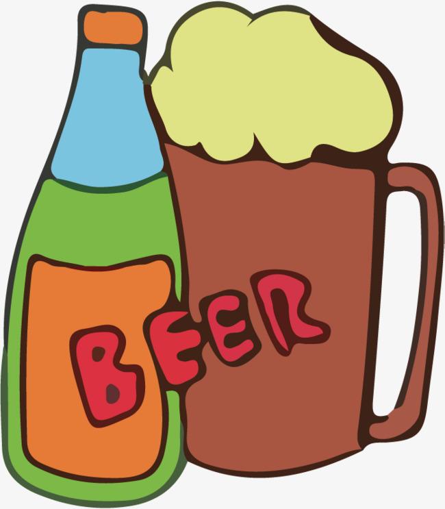 卡通啤酒瓶啤酒杯简笔画