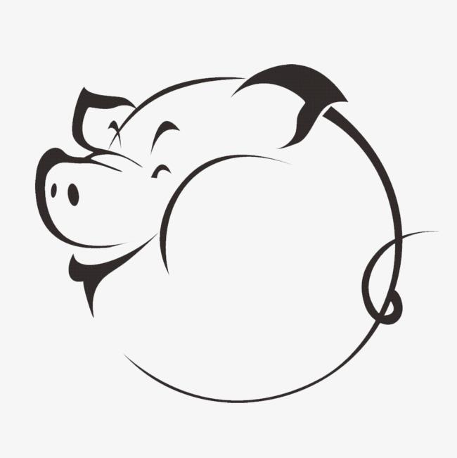 侧面猪头猪简笔画 猪剪影 动物剪影 手绘动物 简洁 动物简笔画 猪简