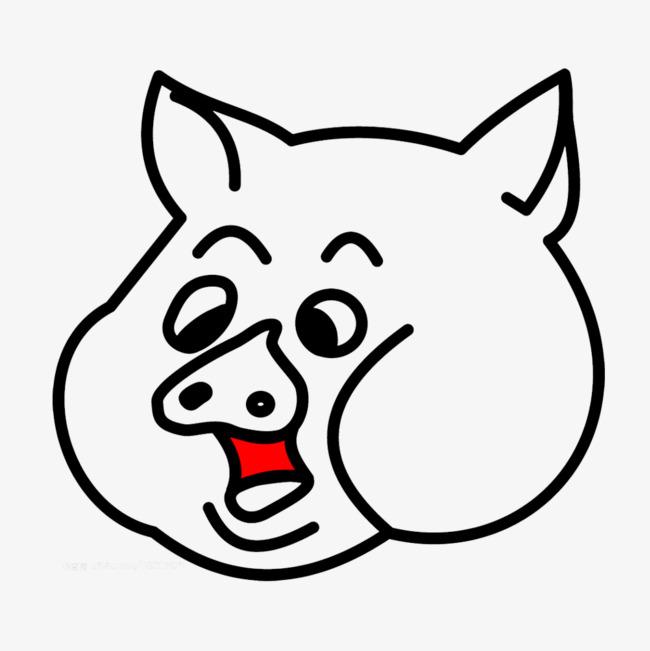红色舌头猪头猪简笔画