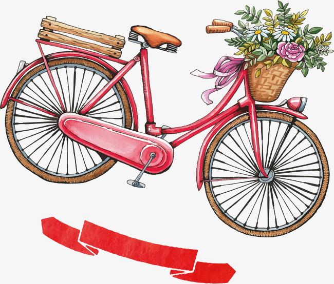 手绘红色自行车