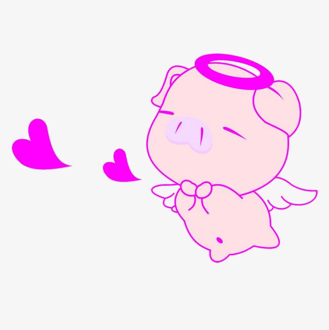 天使猪简笔画 猪剪影 动物剪影手绘动物 简洁 动物简笔画 猪简笔画免