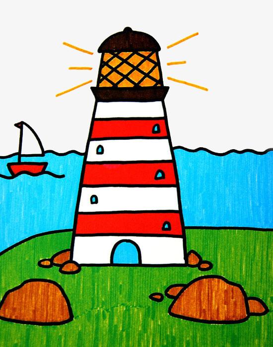 图片 装饰元素 > 【png】 彩绘儿童画灯塔图案图片