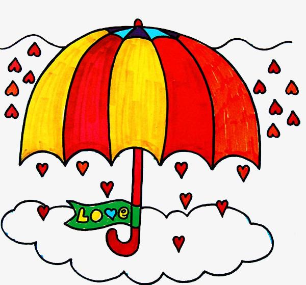 彩绘儿童画小雨伞图案