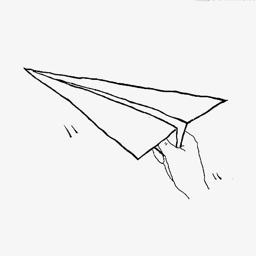 手拿纸飞机手绘图