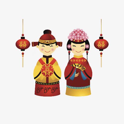 卡通中国风新郎新娘图片
