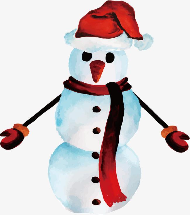 水彩手绘雪人