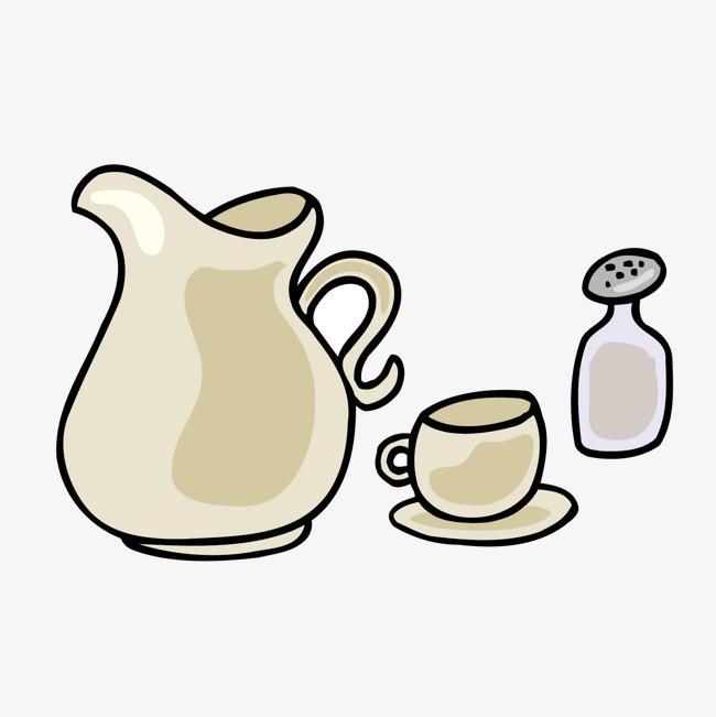 手绘卡通水壶茶杯矢量