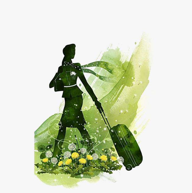 水彩漫画女人拖着行李箱