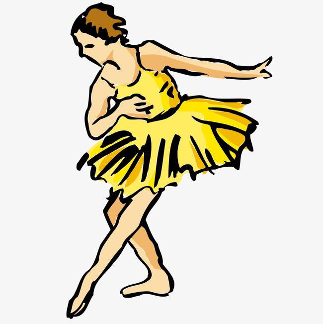 手绘芭蕾舞女演员矢量