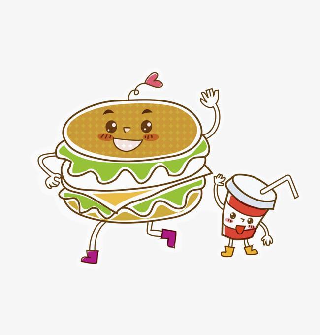 手绘汉堡可乐漫画