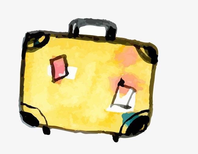 矢量手绘水彩逼真行李箱