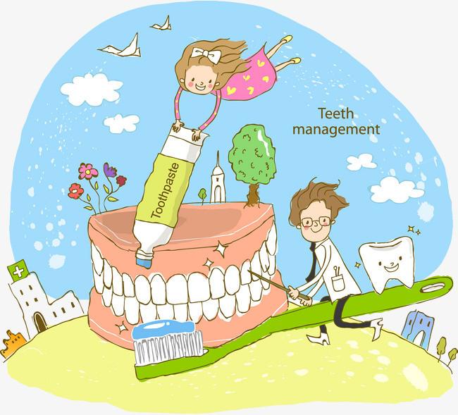 保护牙齿手绘海报