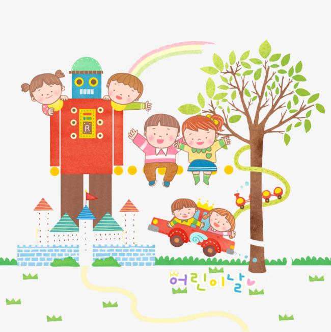 手绘彩色机器人